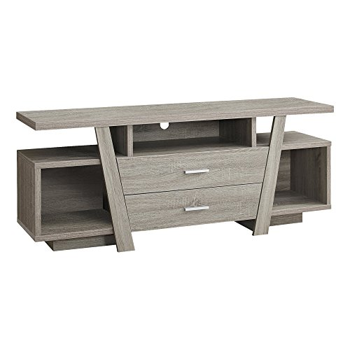 Monarch Specialties I 2721 Dark Taupe with 2 Storage Drawers TV Stand, 60
