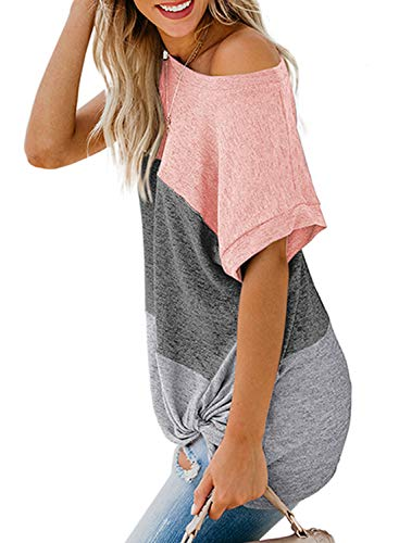 Asvivid Womens Summer One Off The Shoulder Twist Knot Tops Color Block Short Sleeve Loose Blouse T Shirts S Pink