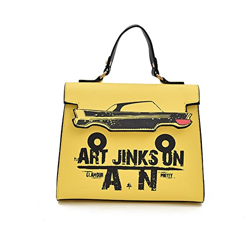 Cute Girl Anime Cartoon Print Tote Leather Shoulder Messenger Bag Paquete de asa superior Yellow