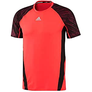 adidas Men's Pro Day Short Sleeve Fitted Shirt (Infrared/Daronx/Black, XL)