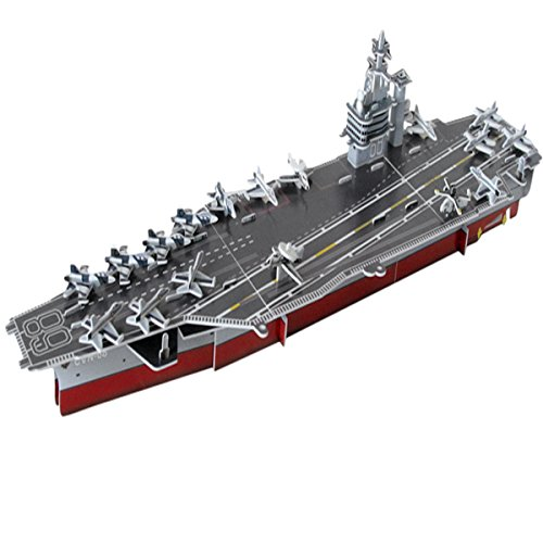 (26.7'' Long Nimitz Aircraft Carrier Toy 3D Assembly Puzzles 65 Pcs Paper Stacking Stock Model Toy Vehicle Playset Educational Intelligent Learning Toy for Children Kids Over 3 Yrs )