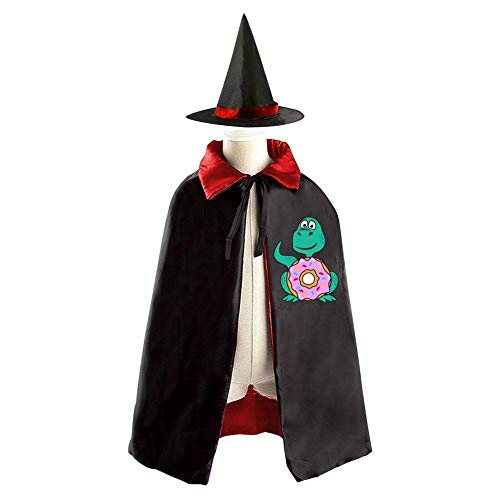 Donut-a-Saurus Dinosaur Donuts 3D Printing Halloween Wizard Witch Reversible Cape with Hat Kids Halloween Party Costume Cloak ()