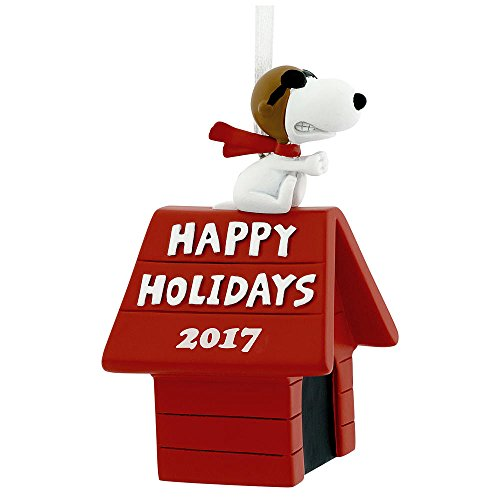 Hallmark Peanuts Snoopy Flying Ace on Doghouse Happy Holidays 2017 Christmas Tree Ornament Dated