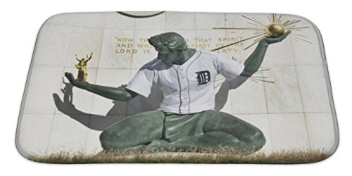 Detroit Tigers Floor Rug (Gear New Bath Rug Mat No Slip Skid Microfiber Soft Plush Absorbent Memory Foam, Spirit Of Detroit Statue With Detroit Tiger Baseball Jersey, 34x21)