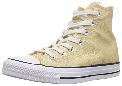 Converse Women's Chuck Taylor All Star Shiny Tile HIGH TOP Sneaker, Light Twine/White/Black, 6.5 M -