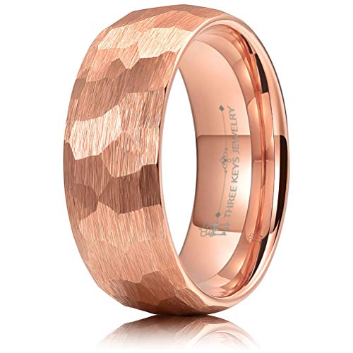 - THREE KEYS JEWELRY 8mm Hammered Irregular Diamond-Shaped Brushed Rose Gold Tungsten Wedding Ring Engagement Band Domed Size