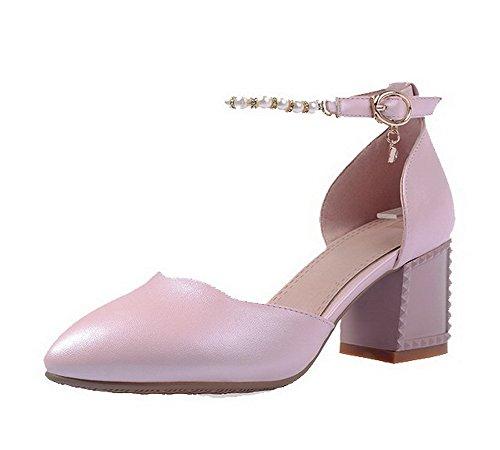 Pentu Solki Pumput Toe kengät Suljetun Voguezone009 Pinkki Kiinteä Materiaalia Pyöreä Pehmeää kannoilla Naisten nZxSwqpR