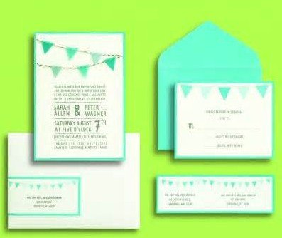 Gartner Studios, Inc. BRIDES® Blue Pennants Invites (Set of 30) (Wedding Wording Invitation Announcement)