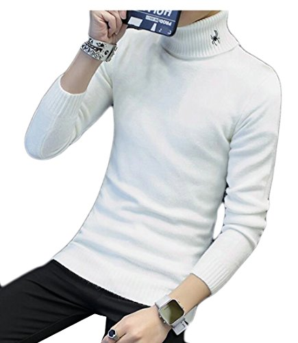 Hot ainr Men's Warm Slim Fit Turtleneck Solid Color Sweaters Pullover supplier