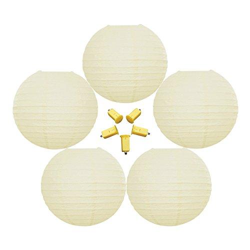 "Crisscross Ribbing Hanging Decoration Ivory Round Paper Lantern 36/"" Beige"