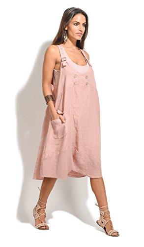 100 % LIN Robe Femme Collection Printemps Et Rose Clair
