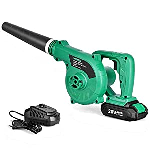 Cordless Leaf Blower – KIMO 20V Lithium 2-in-1 Sweeper/Vacuum 2.0 AH Battery for Blowing Leaf, Clearing Dust & Small Trash,Car, Computer Host,Hard to Clean Corner