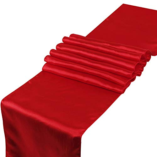 OHogar Pack of 10 Pcs Red Table Runner 12×108 inches Satin Table Runners for Wedding Banquet Birthday Party Decoration Bright Silk and Smooth Fabric Runners Fit Long and Round Table -