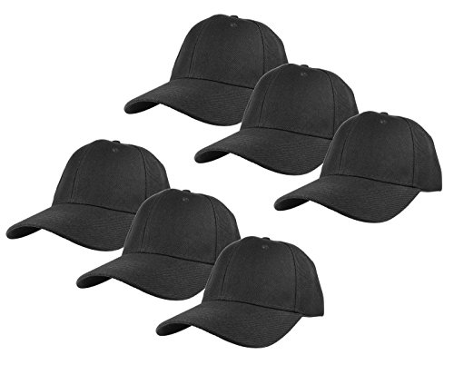 - Gelante Plain Blank Baseball Caps Adjustable Back Strap Wholesale Lot 6 Pack - 001-Black-6Pcs