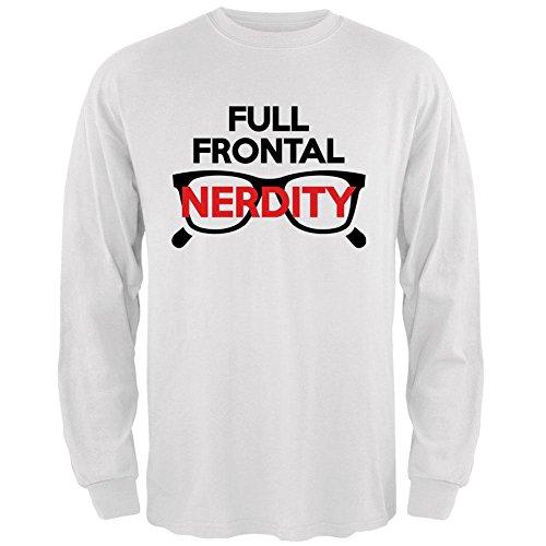 Halloween Nerd Costume Full Frontal Nudity Nerdity Pun Mens Long Sleeve T Shirt White 3X-LG ()