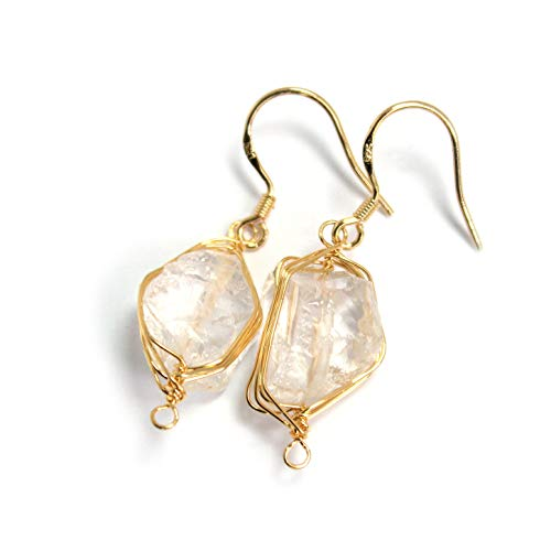 Earrings Clear Glass Drop - Scutum Craft Natural Stone Dangle Drop Earrings with Gold Plated Wire Wrap and 925 Sterling Silver Hook Jewelry for Women (Rough Clear Quartz Crystal)