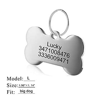 Etiquetas de identificaci/ón de mascotas de acero inoxidable Etiquetas de perro personalizadas personalizadas Grabado frontal posterior para gato y perro con diferentes formas