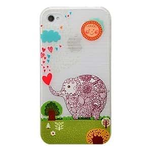 MOFY- patr-n de elefante de dibujos animados pc cepill- la caja dura para iphone4 / 4s