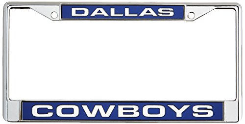 Rico Industries NFL Dallas Cowboys Laser Cut Inlaid Standard Chrome License Plate (Nfl Laser Cut License Plate)