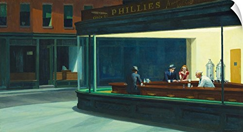 Canvas on Demand Edward Hopper Wall Peel Wall Art Print entitled Nighthawks, 1942 30