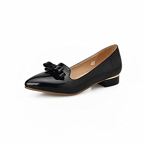Women's Low Solid Pointed Pumps WeenFashion Pull Shoes PU Heels on Toe Black q7CxdBw