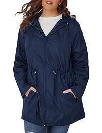 fac99d6e3ce Women Plus Size Cozy Zip-Front Parka Jackets Hooded Coat Outwear with  Pockets(1X