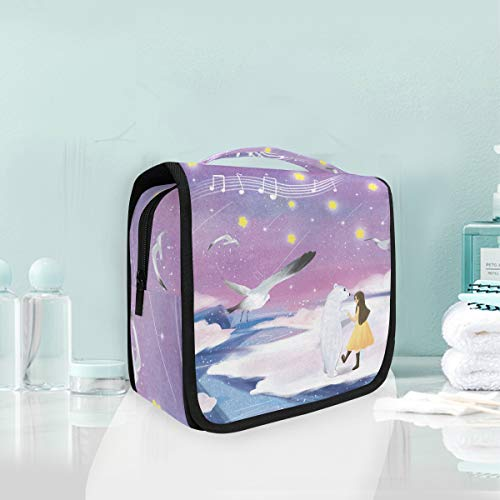 (Mr.XZY Cute Beer Snow Scene Cosmetic Makeup Bag Lovely Animal Bird Young Girl Fresh Style For Kids Hanging Toiletry Bag, Travel Organizer Travel Kit For Women Girl 2010356)
