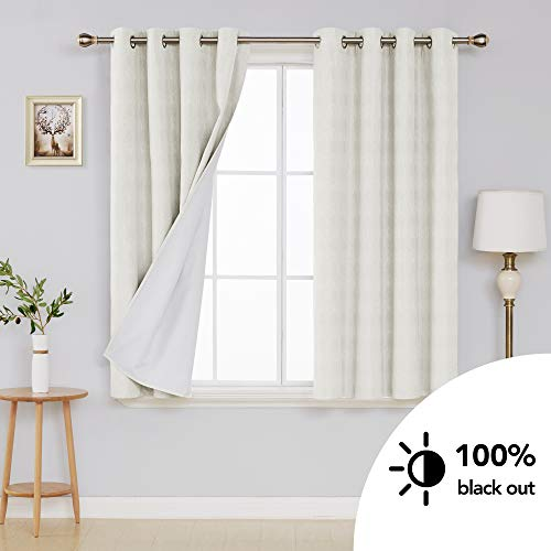 Deconovo White Textured Blackout Curtains with Triple-Pass Coating Back Layer Grommet Thermal Insulated Room Darkening Curtains for Bedroom 52W x 63L Inch