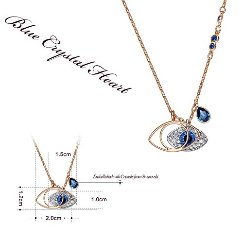 Natasa Duo Evil Eye Pendant Rose Gold Sterling Silver for Women Girls Embellished with Crystals from Swarovski