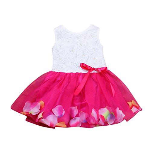 - Super X Children's Girls Baby Petal Pearl Mesh Bow Sleeveless Dress Princess Dress Hot Pink