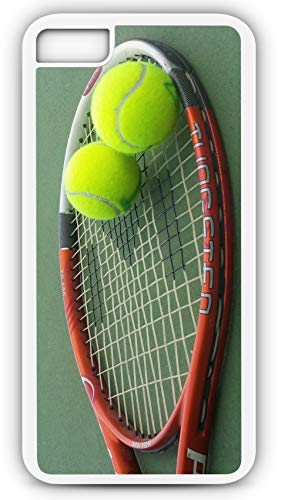 (iPhone 8 Case Tennis Racket and Balls Singles Doubles Volley Customizable by TYD Designs in White Plastic)