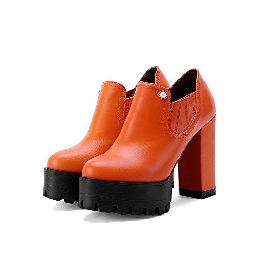 Allhqfashion Womens Pu Ankle-high Tacco Alto Stivali Tacchi Arancioni