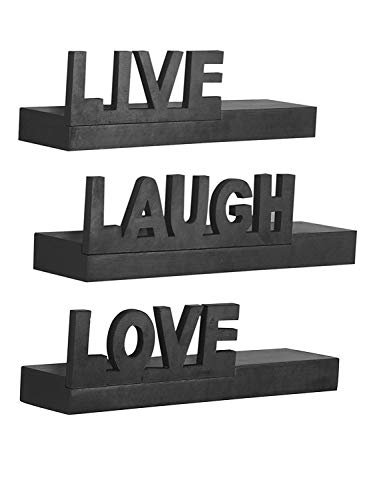 Home Sparkle Wooden Live Love Laugh Shelf  Black