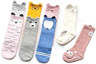 キッズ 子供 靴下 3ペアの女の赤ちゃんの男の子制服ニーハイソックスストッキングバブ (Color : Straight gray bear, Size : S)