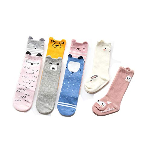 Guodanqing 3 Pair Baby Girl Boy Uniform Knee High Socks Stockings Baby and Toddler (Color : Straight Pink owl, Size : ()