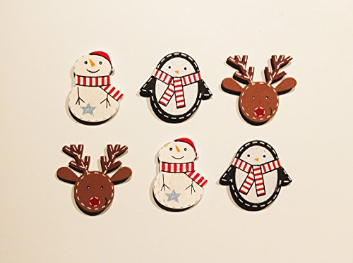 Christmas Fridge Magnet Set of 6 - Snowman Penguin Rudolph (Penguin Rudolph)
