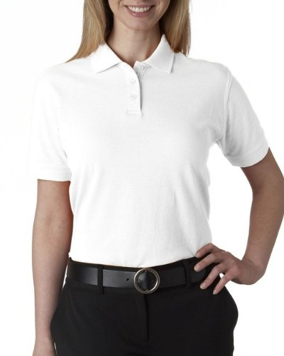 Ladies Classic Pique Polo (UltraClub Women's Classic Pique Polo Shirt - White - Small)