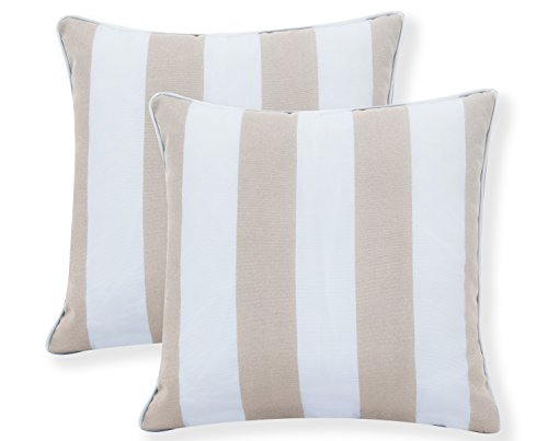 "Ornavo Home Water Resistant Indoor/Outdoor Square Patio Decorative Stripe Throw Pillow Cushion - Insert Included - Set of 2-18"" x 18"" - Beige - LONG LASTING: These 18-inch accent pillows are made with premium fabric for superior color retention and resistance to mildew and stains, so they're ready for the great outdoors. WATER REPELLENT: This set includes two pillows, each featuring a 100% polyester cover that's resistant to moisture, making the pillows weatherproof and appropriate for patio furniture. The cover has the highest UV and abrasion resistance ratings. FADE RESISTANT: Rejuvenate your patio or deck furniture with these striped outdoor throw pillows. The set of two pillows are constructed from fade-resistant fabric and filled with polyester fill to withstand wear and tear from outdoor exposure. - patio, outdoor-throw-pillows, outdoor-decor - 417lEMzfvLL -"