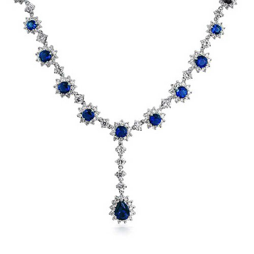 Bridal Royal Blue Crown Set Fashion Simulated Sapphire CZ Y Statement Necklace for Women for Prom Silver Plated Brass ()
