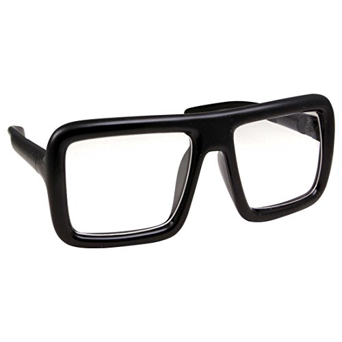 Thick Square Frame Clear Lens Glasses Eyeglasses Super Oversized Fashion and Costume - Black -