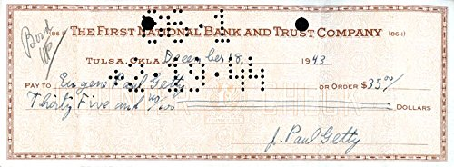 J. Paul Getty – Check Signed 12/18/1943 co-signed By: Sir John Paul Getty Jr.