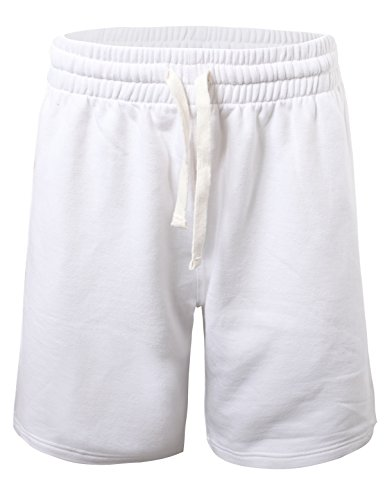 100% Cotton Basic Short - ProGo Men's Casual Basic Fleece Marled Shorts Pants with Elastic Waist (White, X-Large)