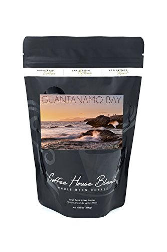 Guantanamo Bay  Cuba   Golden Pink Sky And Ocean  8Oz Whole Bean Small Batch Artisan Coffee   Bold   Strong Medium Dark Roast W  Artwork