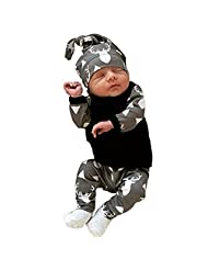 Ownmagi Toddler Newborn Baby Boys Girls Deer Clothing Outfits Set T-shirt/Pants/Hat