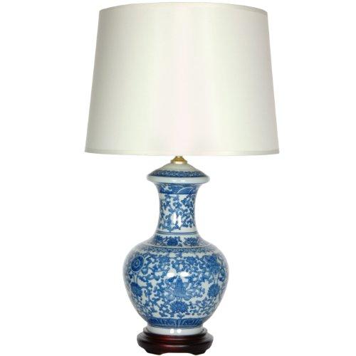 "Oriental Furniture 24.5"" Blue & White Porcelain Round Vase Lamp"