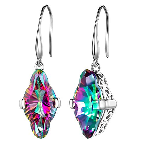 3D Cube Triangle Dangle Earrings Women Mystic Rainbow Topaz 925 Sterling Silver Drop Earrings Crystal Girls Dating Jewelry DE0138M