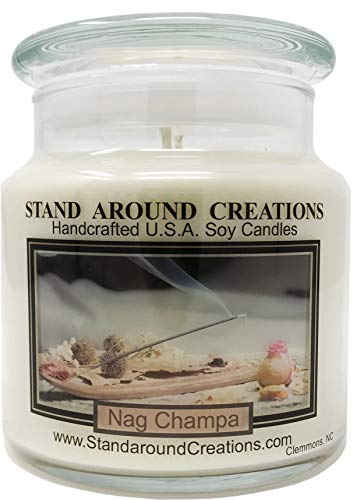 Premium 100% All Natural Soy Apothecary Candle - 16oz. - Nag Champa: Has the aroma of incense; patchouli, sandalwood, and dragon's blood. Made with natural essential oils. - Double Dragon Candle Holder