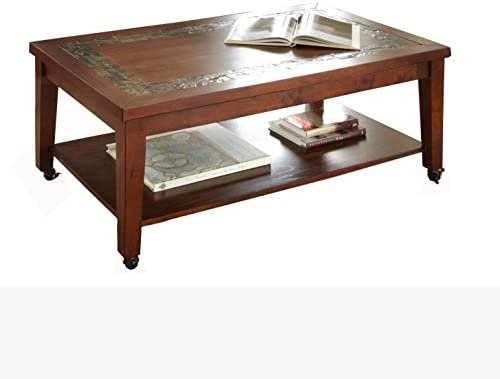 Steve Silver Company Davenport Cocktail Table with Locking Casters, 50 x 30 x 20