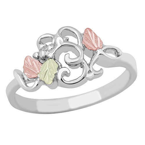 Petite Filigree Ring, Sterling Silver, 12k Green and Rose Gold Black Hills Gold Motif, Size 7.5 by Black Hills Gold Jewelry