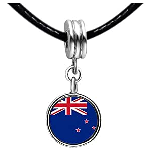 Chicforest Silver Plated New Zealand flag Photo Blue Zircon Crystal December Birthstone Flower dangle Charm Beads Fits Pandora Bracelets